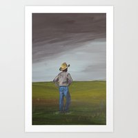 cowboy Art Prints featuring Cowboy by gcooney14