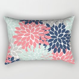 Flower Burst Petals Floral Pattern Navy Coral Mint Gray Rectangular Pillow