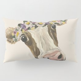 Cow Art, Flower Crown Cow Art Pillow Sham