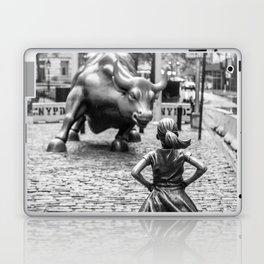 Fearless Girl & Charging Bull in the rain Laptop & iPad Skin