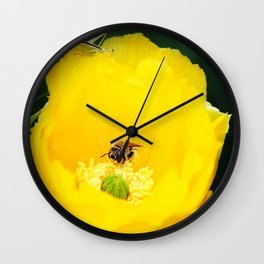 Cactus Flower, Bee and Grasshopper Wall Clock