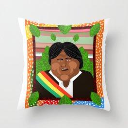 Evo Morales Throw Pillow