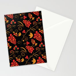 Traditional russian khokhloma print with berries and floral motives Stationery Cards