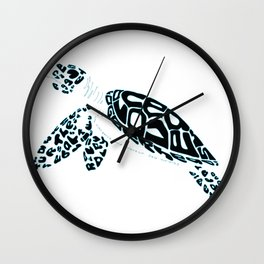 Calligram Sea Turtle Wall Clock
