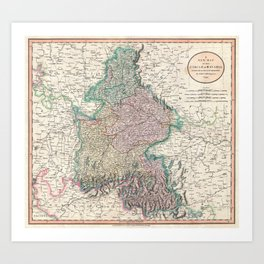 Vintage Map of Bavaria Germany (1799) Art Print