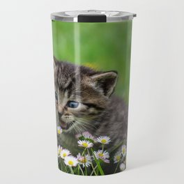 Kitty looking at flowers Travel Mug