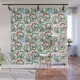 POODLES celebrate CHRISTMAS with a blue ribbon Wall Mural