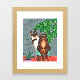 Cat Sisters Framed Art Print