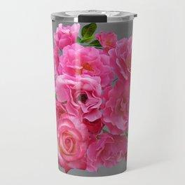 PINK ON PINK ROSE PATTERN GREY ART Travel Mug