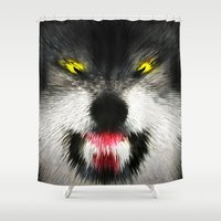 mad Shower Curtains featuring MAD WOLF by Chrisb Marquez