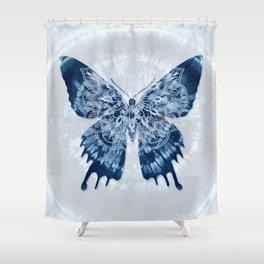 Indigo blue tie dye mandala butterfly Shower Curtain