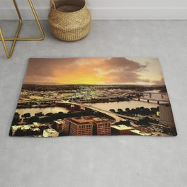 Downtown Portland Oregon Bridge View Rug