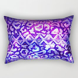 TRIBAL LEOPARD GALAXY Animal Print Aztec Native Pattern Geometric Purple Blue Ombre Space Galactic Rectangular Pillow