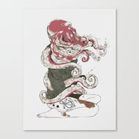 octopus Canvas Prints featuring My head is an octopus by Huebucket