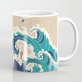 Abstract big waves of ocean and island at sunset landscape Coffee Mug