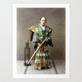 Kusakabe Kimbei - Samurai - Original old vintage retro Photography from Japan Art Print