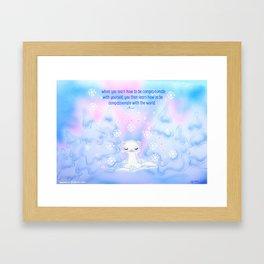 Snow Ferret Framed Art Print