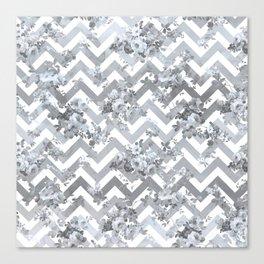 Vintage chic elegant blue gray white geometrical floral pattern Canvas Print