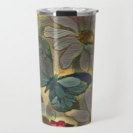 Painterly Flowers and Butterflies Travel Mug