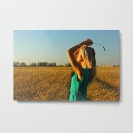 girl on the field Metal Print
