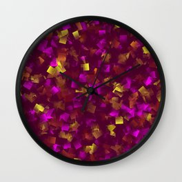 collage purple,gold, colored tiles from little shady Wall Clock