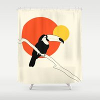 toucan Shower Curtains featuring Toucan by Rebekhaart