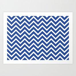 blue, white zig zag pattern design Art Print