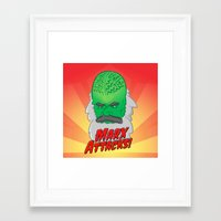 marx Framed Art Prints featuring Marx Attacks! by ericbennettart