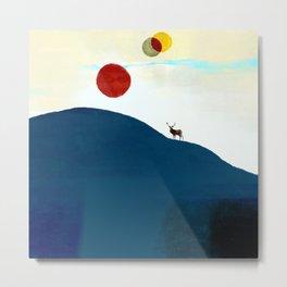 The Deer and 3 Sun Metal Print