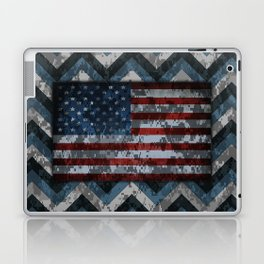 Blue Military Digital Camo Pattern with American Flag Laptop & iPad Skin