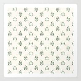 block print palm in sage on cream Art Print