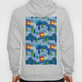 Watercolor Colorado mountains, trees and flag Light Blue Hoody