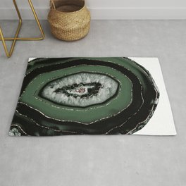 Green Black Agate with Rose Gold Glitter #1 #gem #decor #art #society6 Rug