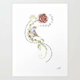 The nightgale and the rose Art Print