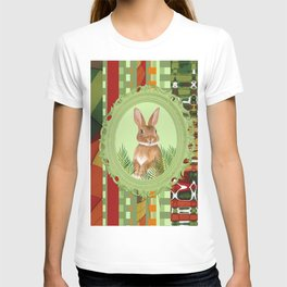 Bunny in green frame with geometric background stripes T-shirt