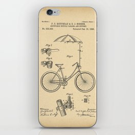 1896 Patent Adjustable bicycle parasol and support iPhone Skin