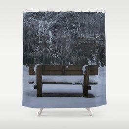 Lone Bench At Lago del Predil Italy Shower Curtain
