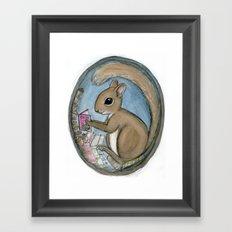 Sherman Squirrel Reads a Tale Framed Art Print