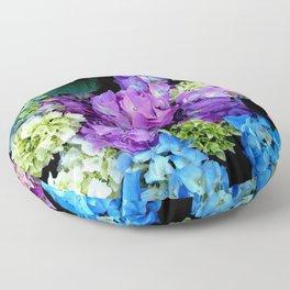 Colorful Flowering Bush Floor Pillow
