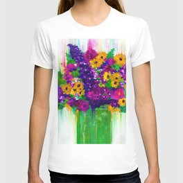 Colorful painted bouquet of flowers T-shirt