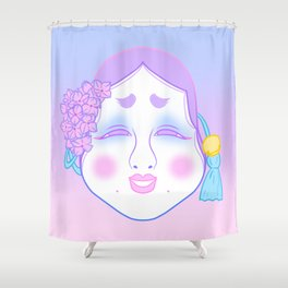 Okame Mask (pastel) Shower Curtain