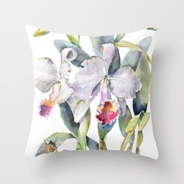 Vintage White Cattleya Orchids and Moth Poster Botanical Design Throw Pillow