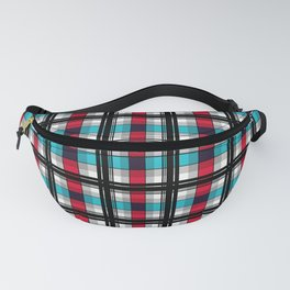 Blue , red , black plaid Fanny Pack