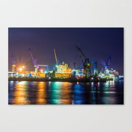 Port of Hamburg at night with colorful illumination Canvas Print