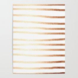 Simply Drawn Stripes Deep Bronze Amber Poster
