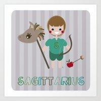 sagittarius Art Prints featuring Sagittarius by Esther Ilustra