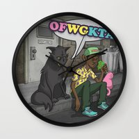 tyler the creator Wall Clocks featuring Tyler, The Creator of Odd Future OFWGKTA by Donta Santistevan