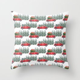 Corgis in car in winter forest Throw Pillow