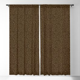 Outline of Dice in Gold + Brown Blackout Curtain