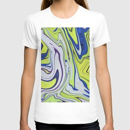 Smooth Lime Blue Abstract Vibrant Vivid T-shirt